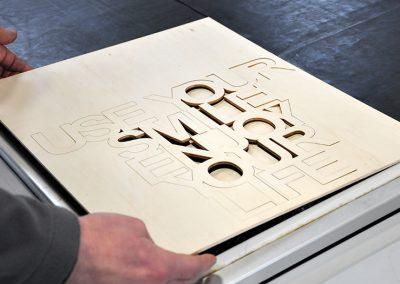 Schriftzug 3D Laserschneiden