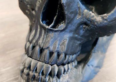3D-Druck Totenkopf/ Material ABS/ Unterkiefer Schichthöhe 0,1mm/ Oberkiefer Schichthöhe 0,2mm